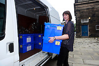 A council worker carry ballot boxes to the van.<br /> Ballot boxes delivered. Ballot boxes to be used for voting in the Scottish independence referendum will be picked up by van from storage for delivery to Edinburgh's 145 polling places. .<br /> Pako Mera/Universal News And Sport (Europe)17/09/2014