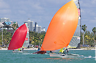 MIAMI, February 2, 2013 - Theater-style racing is designed to attract spectators, sponsors and the media to sailing, while keeping Olympic hopefuls at the top of their game.  At the ISAF World Sailing Cup, Jan 28-Feb 2, 2013 49ers did not disappoint, with expert boat handling, speedy spinnaker sets and close competition.