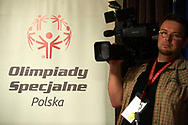 Katowice, Poland - 2017 September 01: TV cameraman works while press conference before Opening Ceremony during European Unified Volleyball Tournament 2017 at Spodek Hall on September 01, 2017 in Katowice, Poland.<br /> <br /> Adam Nurkiewicz declares that he has no rights to the image of people at the photographs of his authorship.<br /> <br /> Picture also available in RAW (NEF) or TIFF format on special request.<br /> <br /> Any editorial, commercial or promotional use requires written permission from the author of image.<br /> <br /> Image can be used in the press when the method of use and the signature does not hurt people on the picture.<br /> <br /> Mandatory credit:<br /> Photo by © Adam Nurkiewicz / Mediasport