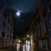 Full moon over the streets of Venice, Italy