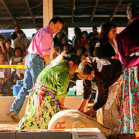 090314  Adron Gardner<br /> <br /> Ann Marie Salt, left, and Farrah Mailboy trim hide under judge supervision during the Miss Navajo pageant sheep butchering competition at the Navajo Nation Fairgrounds in Window Rock Wednesday.