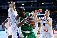 Real Madrid's player Rudy Fernandez and Jaycee Carroll and Panathinaikos's player Chris Singleton during match of Turkish Airlines Euroleague at Barclaycard Center in Madrid. November 16, Spain. 2016. (ALTERPHOTOS/BorjaB.Hojas)