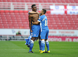 Brighton and Hove Albion's Rohan Ince celebrates his goal with Brighton and Hove Albion's Jake Forster-Caskey - Photo mandatory by-line: Alex James/JMP - Mobile: 07966 386802 25/08/2014 - SPORT - FOOTBALL - Swindon - County Ground - Swindon Town v Brighton   - League Cup-