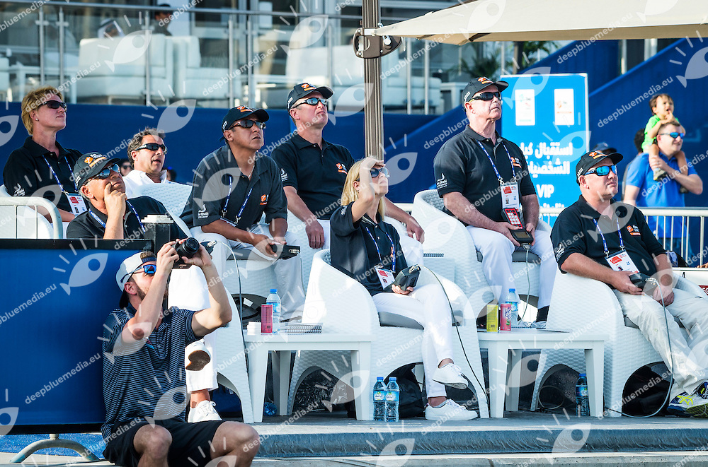 Officials<br /> FINA High Diving World CuCARLTON Cesilie USAp 2016<br /> Abu Dhabi Sailing and Yacht Club <br /> Corniche Breakwater - Abu Dhabi - U.A.E.<br /> Day3  29 Feb.2016<br /> Photo G.Scala/Insidefoto/Deepbluemedia