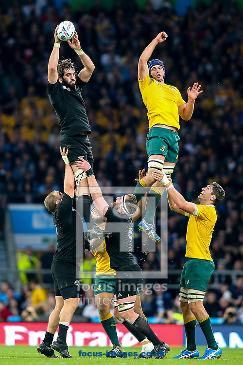 Sam Whitelock of New Zealand (left) wins line out ball during the final of the 2015 Rugby World Cup at Twickenham Stadium, Twickenham<br /> Picture by Andy Kearns/Focus Images Ltd 0781 864 4264<br /> 31/10/2015