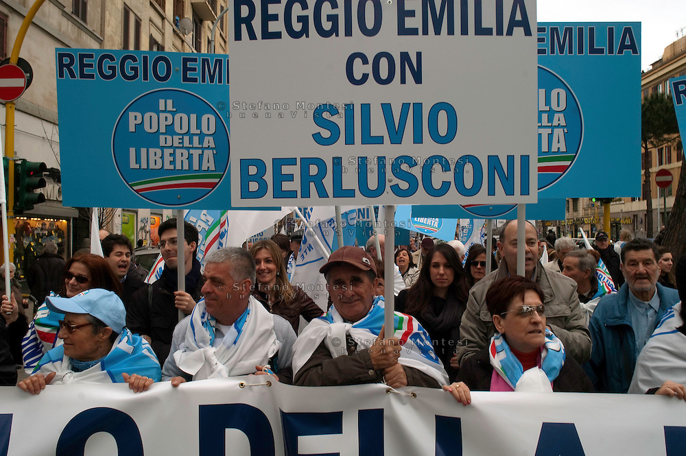 Roma 20  Marzo 2010.Manifestazione nazionale  del Pdl a sostegno dei candidati del centrodestra alle prossime Regionali..Rome March 20, 2010.The PDL national demonstration in support of the center-right candidate in the forthcoming Regional.