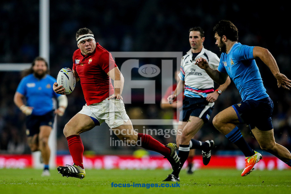 Guilhem Guirado of France (left) looks back at Luke McLean of Italy (right) during the 2015 Rugby World Cup match at Twickenham Stadium, Twickenham<br /> Picture by Andy Kearns/Focus Images Ltd 0781 864 4264<br /> 19/09/2015
