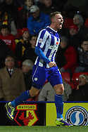 Picture by David Horn/Focus Images Ltd +44 7545 970036<br /> 14/12/2013<br /> Connor Wickham of Sheffield Wednesday celebtates victory after Sky Bet Championship match at Vicarage Road, Watford.
