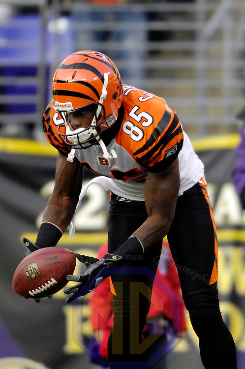 11 November 2007:  Cincinnati Bengals wide receiver Chad Johnson (85) makes a 20 yard pass reception against the Baltimore Ravens in the 1st quarter on November 11, 2007 at M&T Bank Stadium in Baltimore, Maryland. The Bengals defeated the Ravens 21-7 on the strength of 7 field goals..