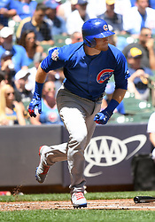 June 13, 2018 - Milwaukee, WI, U.S. - MILWAUKEE, WI - JUNE 13: Chicago Cubs Outfield Ian Happ (8) runs to 1st during a MLB game between the Milwaukee Brewers and Chicago Cubs on June 13, 2018 at Miller Park in Milwaukee, WI. The Brewers defeated the Cubs 1-0.(Photo by Nick Wosika/Icon Sportswire) (Credit Image: © Nick Wosika/Icon SMI via ZUMA Press)