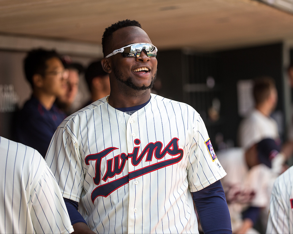 MINNEAPOLIS, MN- APRIL 16: Miguel Sano #22 of the Minnesota Twins looks on against the Los Angeles Angels of Anaheim on April 16, 2016 at Target Field in Minneapolis, Minnesota. The Twins defeated the Angels 6-4. (Photo by Brace Hemmelgarn) *** Local Caption *** Miguel Sano