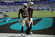Ted Ginn Jr.(19) has a nice homecoming in the New Orleans Saints 34 to 13 victory over the Carolina Panthers.