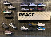 Oct 19, 2018; London, United Kingdom; General overall view of display of Nike Epic React running shoes at Niketown London.