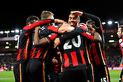 Bournemouth celebrate the second goal scored by AFC Bournemouth forward Benik Afobe during the Barclays Premier League match between Bournemouth and Southampton at the Goldsands Stadium, Bournemouth, England on 1 March 2016. Photo by Graham Hunt.
