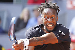 May 9, 2019 - Madrid, Spain - Gael Monfils of France in action against Roger Federer of Switzerland during day six of the Mutua Madrid Open at La Caja Magica on May 09, 2019 in Madrid, Spain. (Credit Image: © Oscar Gonzalez/NurPhoto via ZUMA Press)