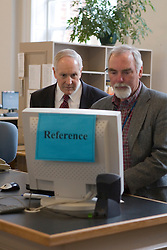 Virginia Head Football Coach Al Groh worked at the reference desk at Aldermann Library at the University of Virginia on March 15, 2007.