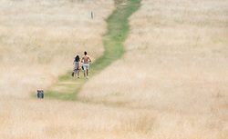 © Licensed to London News Pictures. 04/07/2018. London, UK. A couple walk through the scorched dry landscape in Richmond Park as the heatwave continues. Photo credit: Peter Macdiarmid/LNP