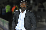 QPR's Jimmy Floyd Hasselbaink post-match against Burton, having played to a 1-1 draw, during the EFL Sky Bet Championship match between Burton Albion and Queens Park Rangers at the Pirelli Stadium, Burton upon Trent, England on 27 September 2016. Photo by Richard Holmes.