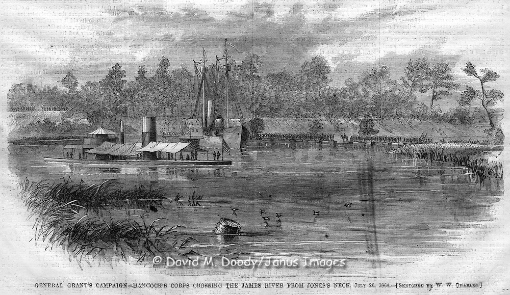Civil War action before Petersburg, Virginia. Harper's Weekly, August 20, 1864. An ironclad on the James River at Jones Neck.