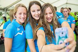Swimmers Tara Vovk, Marin-Kaja Balant and Izabela Milanez during presentation of Slovenian Team for Baku 2015 European Games,  on June 4, 2015 in Koper, Slovenia. Photo by Vid Ponikvar / Sportida