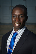 Chelunor Nwajei poses for a portrait in front of Ohio University's Memorial Auditorium as part of the College of Business's Emerging Leaders program on September 21, 2016.