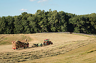 Mount Hope, New York - A farmer bales hay in a field at Pierson Farm on June 16, 2016.