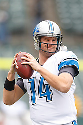 Dec 18, 2011; Oakland, CA, USA; Detroit Lions quarterback Shaun Hill (14) warms up before the game against the Oakland Raiders at O.co Coliseum. Detroit defeated Oakland 28-27. Mandatory Credit: Jason O. Watson-US PRESSWIRE