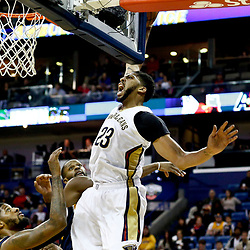 Dec 15, 2016; New Orleans, LA, USA; New Orleans Pelicans forward Anthony Davis (23) is fouled on an attempted dunk against the Indiana Pacers during the second half of a game at the Smoothie King Center. The Pelicans defeated the Pacers 102-95. Mandatory Credit: Derick E. Hingle-USA TODAY Sports
