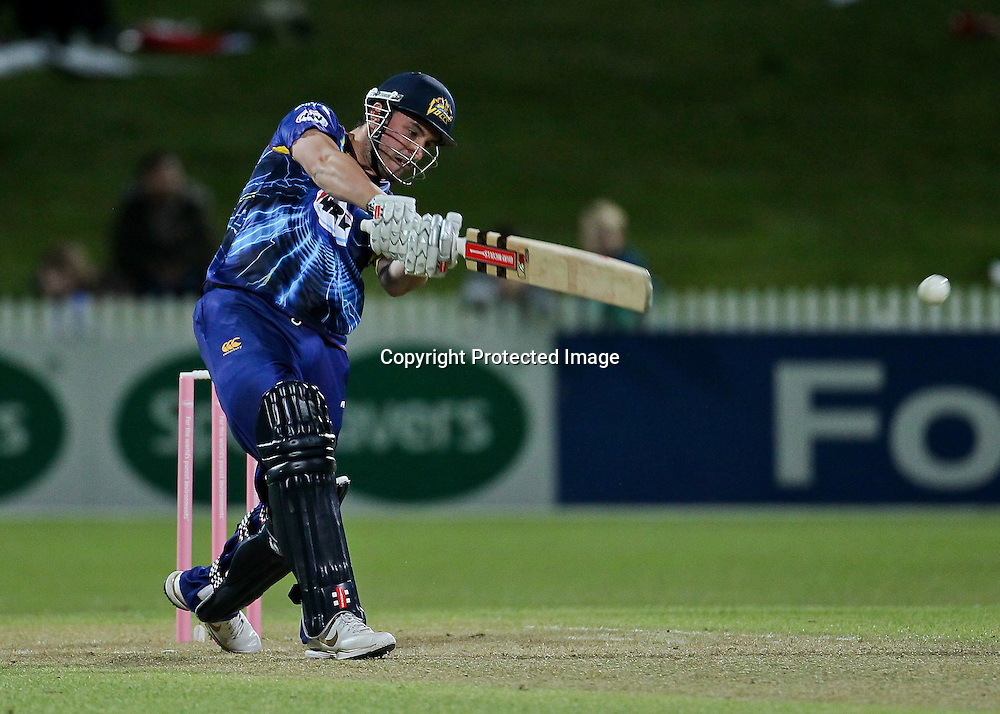 Otago Volt's Hamish Rutherford batting during the HRV Cup - Northern Knights v Otago Volts, 2 November 2012.  Photo:  Bruce Lim / photosport.co.nz