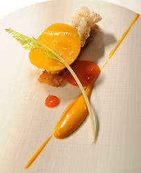 A starter featuring a fried langoustine with carrot, apricot, creme of orange peel and North African spices, €60 at the 3 Michelin Star restaurant - Hertog Jan in Bruges, Belgium. (Photo © Jock Fistick)