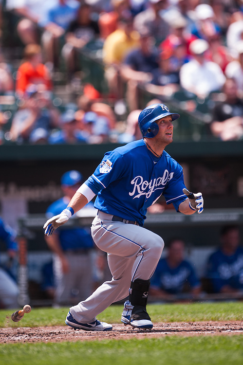 BALTIMORE, MD - MAY 27: Alex Gordon #4 of the Kansas City Royals bats during the game against the Baltimore Orioles at Oriole Park at Camden Yards on May 27, 2012 in Baltimore, Maryland. (Photo by Rob Tringali) *** Local Caption *** Alex Gordon