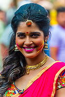 Beautiful Indian woman, Holi (Festival of Colors), Mathura, Uttar Pradesh, India.