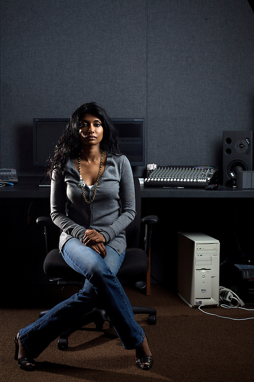 8/12/08 9:23:53 AM -- Washington, DC, U.S.A..Documentary filmmaker Roshini Thinakaran, in her editing suite in Washington, DC on Tuesday, Aug. 12, 2008...Photo by Jay Westcott, Freelance.