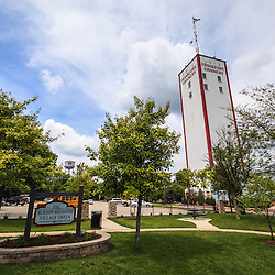 Photo of Burton Breidert Village Green in Frankfort Illinois with the historic Frankfort Grainery grain tower. Frankfort is a Southwestern suburb of Chicago along the Old Plank Road Trail. Breidert Park hosts many local events including the Farmers Market and concerts.