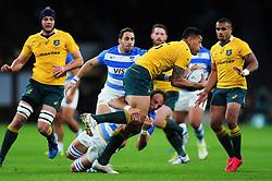 Israel Folau of Australia takes on the Argentina defence - Mandatory byline: Patrick Khachfe/JMP - 07966 386802 - 08/10/2016 - RUGBY UNION - Twickenham Stadium - London, England - Argentina v Australia - The Rugby Championship.