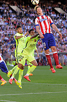 Atletico de Madrid´s Fernando Torres and FC Barcelona´s Daniel Alves during 2014-15 La Liga match between Atletico de Madrid and FC Barcelona at Vicente Calderon stadium in Madrid, Spain. May 17, 2015. (ALTERPHOTOS/Luis Fernandez)