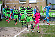 Teams enter the field during the EFL Sky Bet League 2 match between Forest Green Rovers and Coventry City at the New Lawn, Forest Green, United Kingdom on 3 February 2018. Picture by Shane Healey.
