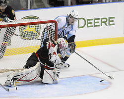 Game action from Wednesday's round robin game between the Mississauga St. Michael's Majors and Owen Sound Attack at the 2011 MasterCard Memorial Cup in Mississauga, ON. Photo by Aaron Bell/CHL Images