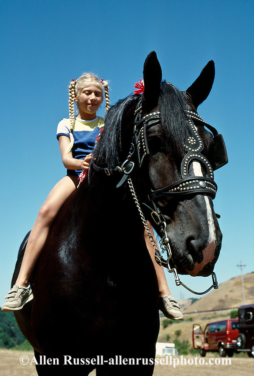 Girl rides Percheron Draft Horse, <br /> MODEL RELEASED