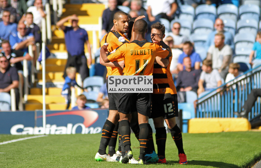 Andy Yiadom celebrates with Mauro Vilhete During Portsmouth vs Barnet on Saturday 12th September 2015.