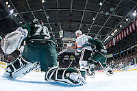KELOWNA, CANADA - JANUARY 08: Justin Kirkland #23 of Kelowna Rockets looks for the pass in front of the net of Carter Hart #70 of Everett Silvertips on January 8, 2016 at Prospera Place in Kelowna, British Columbia, Canada.  (Photo by Marissa Baecker/Shoot the Breeze)  *** Local Caption *** Carter Hart; Justin Kirkland;