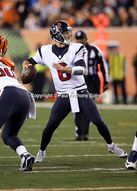 Houston Texans quarterback T.J. Yates (6) throws a 22 yard touchdown pass to Houston Texans wide receiver DeAndre Hopkins (10) for a 10-6 fourth quarter Texans lead during the 2015 week 10 regular season NFL football game against the Cincinnati Bengals on Monday, Nov. 16, 2015 in Cincinnati. The Texans won the game 10-6. (©Paul Anthony Spinelli)