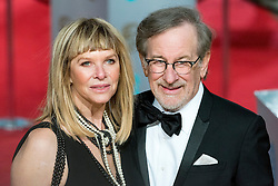 © Licensed to London News Pictures. 14/02/2016. London, UK. KATE CAPSHAW and STEVEN SPIELBERG  arrive on the red carpet at the EE British Academy Film Awards 2016 Photo credit: Ray Tang/LNP