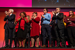 © Licensed to London News Pictures. 26/09/2018. Liverpool, UK. Members of the shadow cabinet on stage during Jeremy Corbyn's closing speech at the Labour Party Conference. Photo credit: Rob Pinney/LNP