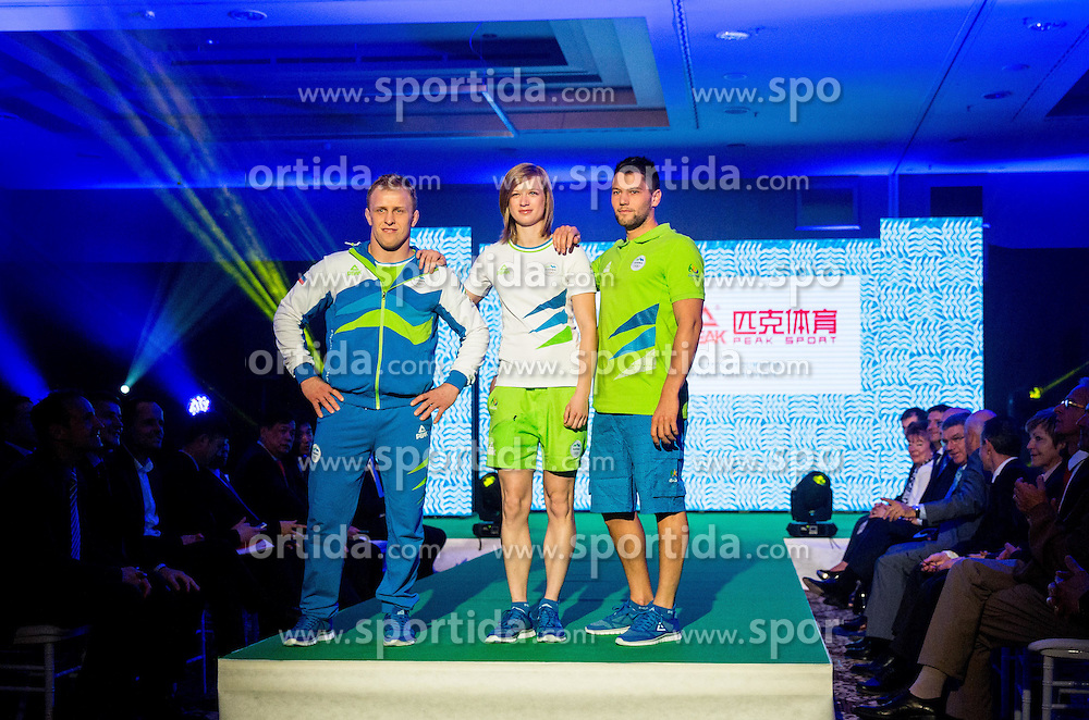 Rok Draksic, Tina Sutej and Saso Taljat during official presentation of the Designer wear for Slovenian Athletes at Rio Summer Olympic Games 2016, on April 15, 2016 in Hotel Lev, Ljubljana, Slovenia. Photo by Vid Ponikvar / Sportida