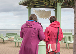 Across Portobello, Edinburgh, artists revealed their work to the public for the start of this weekend's Art Walk Porty. A mixture of open studios, pop-up exhibition spaces, artists market and site-specitic art all over the Edinburgh suburb this weekend. The event runs from Fri-Sun Sept 2nd-4th. 2016. Pictured: Juliana Capes with her piece &quot;Breakers&quot; at the Joppa Bandstand. <br /> <br /> <br /> &copy; Jon Davey/ EEm
