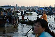 Mekong Delta. Early morning at Cai Rang Floating Market on Can Tho River.