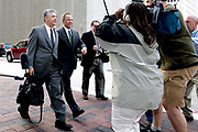 Former Enron CEO Jeffrey Skilling on his way to the Houston Federal Court building for a pre-trial hearing for the Enron trial. On Monday April 16th refused to hear Skilling's appeal of a lower court's rejection of his theory that a flaw in his earlier trial meant the whole thing should have been thrown out.