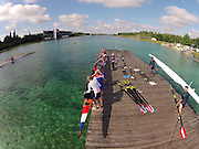 Munich, GERMANY,    General Views, GV's,  of the Boathouse and  Boating Area, NED W8+,  Boating for their morning training outing. 2012 World Cup III on the Munich Olympic Rowing Course,  Thursday  14/06/2012  [Mandatory Credit Peter Spurrier/ Intersport Images]..