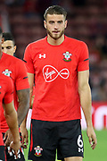 Southampton defender Wesley Hoedt (6) warm up during the Premier League match between Southampton and Brighton and Hove Albion at the St Mary's Stadium, Southampton, England on 17 September 2018.